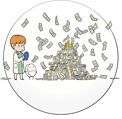 Cartoon scientist near a big pile of money