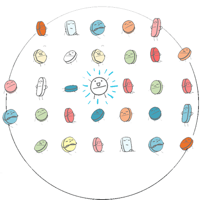 Drawings of different drugs